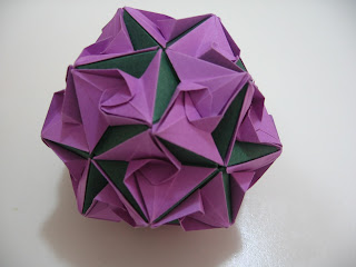 Tomoko Fuse Floral Origami Globes Green and Purple Curves Type III