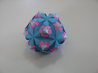 Tomoko Fuse Floral Origami Globes Pink and Blue Petals Type II