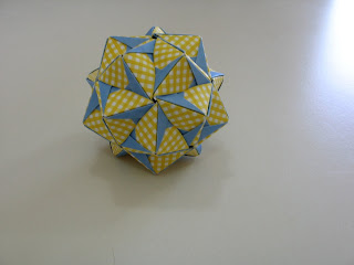 Tomoko Fuse Floral Origami Globes Yellow/White checkered and Blue Section Type I