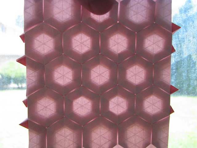 Eric Gjerde Red Double Pleat Hexagon Tessellation window lit reverse side