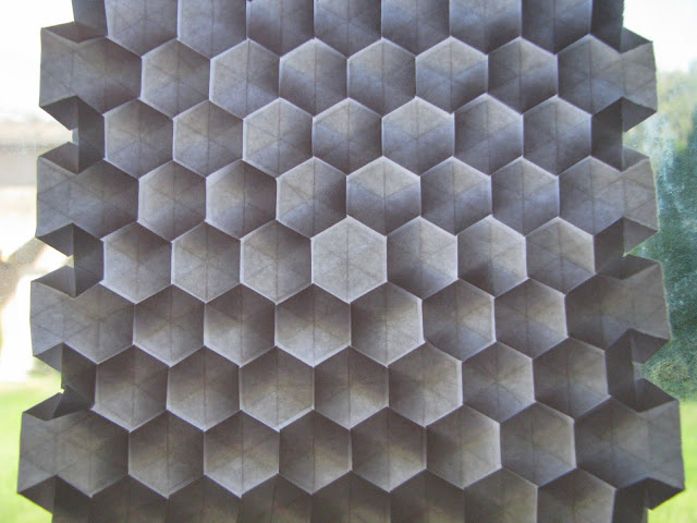Eric Gjerde White Spread Hexagon Tessellation window lit reverse side