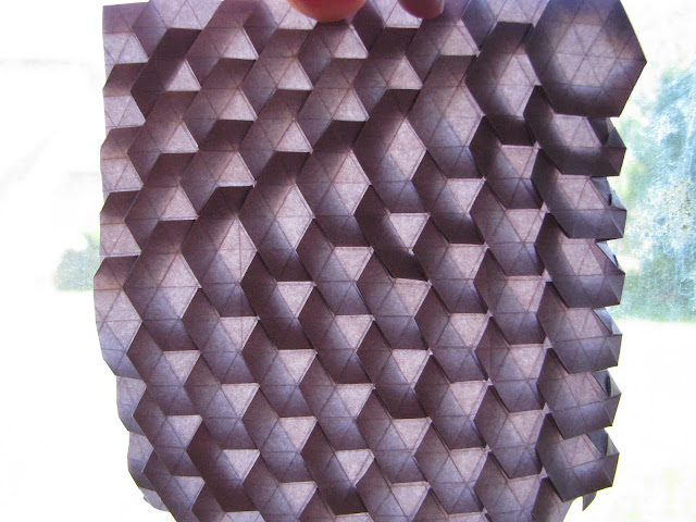 Eric Gjerde Purple Spread Hexagon Tessellation window lit front