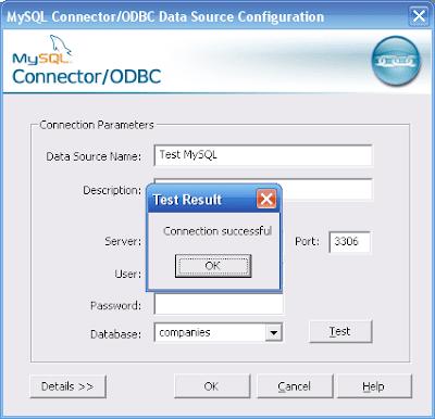 test config mysql odbc