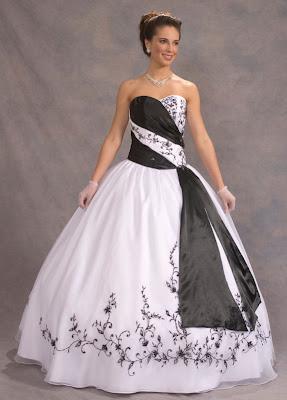 Vestido de 15 años - Color blanco/negro