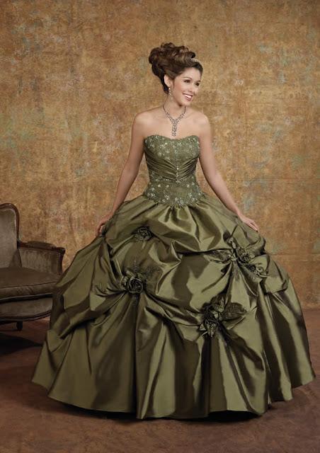 Vestidos fiesta color verde olivo