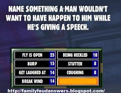 facebook family feud answers name something a man wouldn. Black Bedroom Furniture Sets. Home Design Ideas
