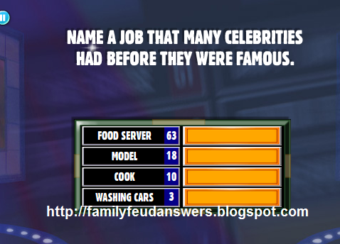 answers name a job that many celebrities had before they were famous
