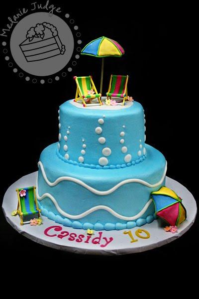 Cake Walk Pool Party Cake Happy Birthday Dad