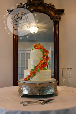 mango calla lily buttercream embroidery wedding cake