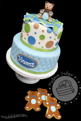 boy baby shower bear blanket cake cookies