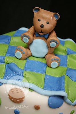 boy baby shower bear blanket cake