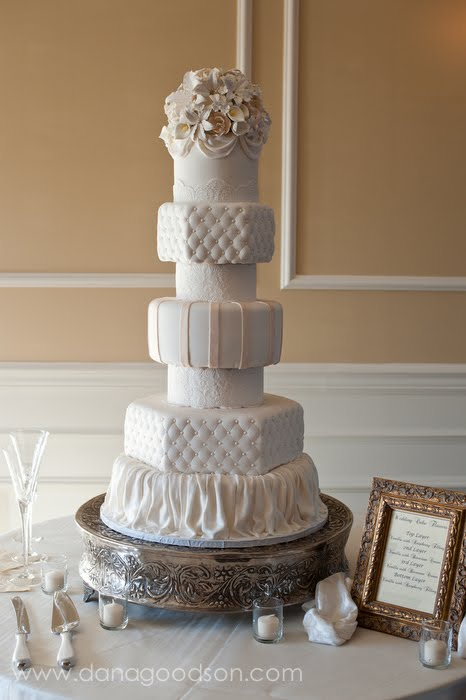 St Augustine Fondant White Ivory Lace Swags Quilting D Wedding Cake
