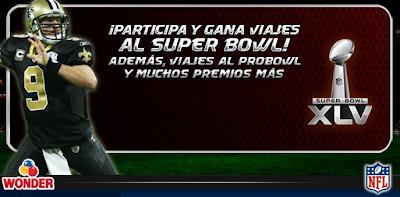 premios viajes Super Bowl XLV 45 promocion wonder Mexico 2011