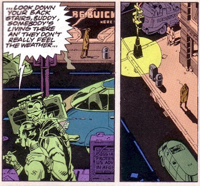 "Panel from Watchmen with ""Neighborhood Threat"" lyrics"