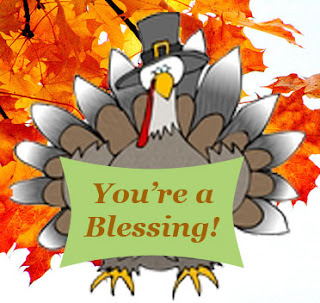 turkey wearing a pilgrim hat, holding a sign saying You're A Blessing!