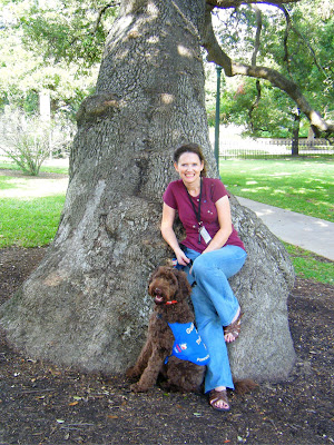 I'm half-sitting, half-leaning against an enormous live oak with Alfie seated at my feet