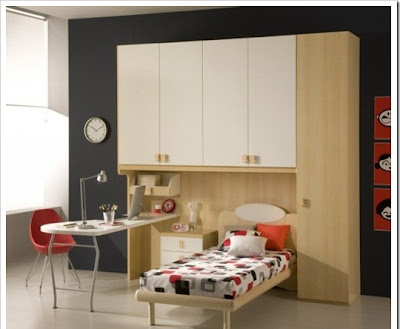 contemporary child room for boys decorated with many wooden elements