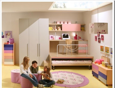 Teen room furniture for girls decorated in pink and white