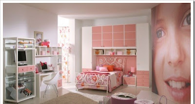stylish teen room for girls with modern design decorated in pink color