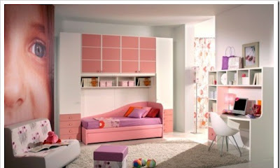 Modern teen room for girls designed in pink color