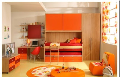 modern children room decoration, desk, beds, cabinets