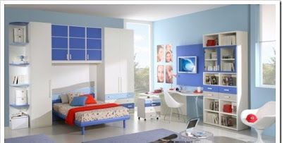 modern teen room in blue color for boys