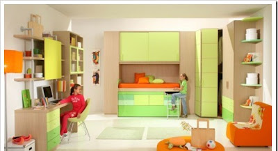 Modern furniture for children rooms designed in fresh green color