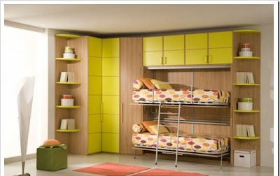 contemporary children room with multibeds for two kids