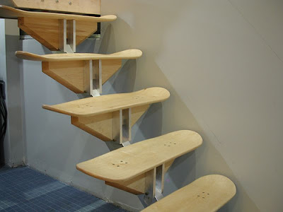 stairs at Roarockit Skateboard... made of skateboards !