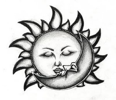 Sun kiss moon tattoo design