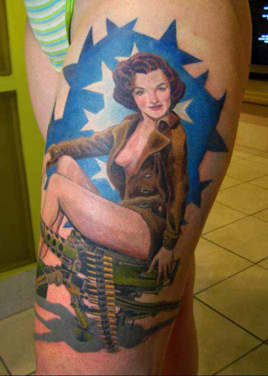 Female Tattoos Design : Pinup Girls Tattoo 4