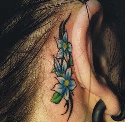 Flower Neck Tattoo Design for Girls