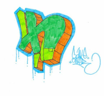 Graffiti Alphabet Letters Green Color