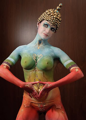 Airbrush Body Paint Design Budha on Girl