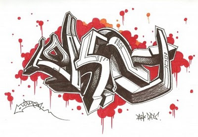 Graffiti sketches 3d arrow alphabets