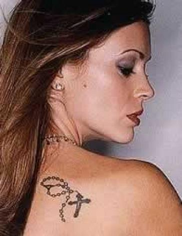 back shoulder tattoos. Alyssa Milano Celebrity Shoulder Tattoo Picture