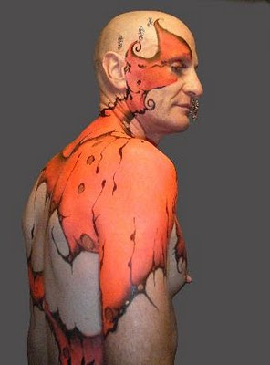 Full Airbrush Art On The Male Body