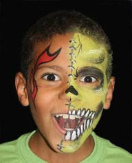airbrush face painting skull boy