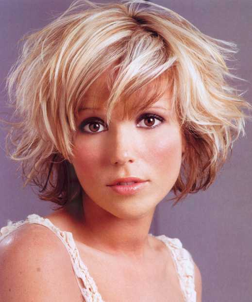 Haircuts short bangs or wavy hair framing the face to face can be layered or