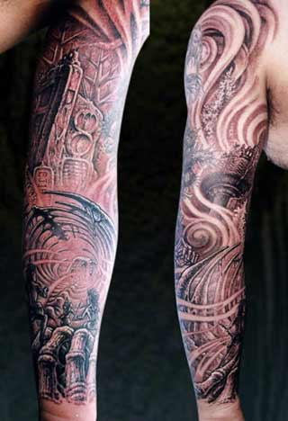 sleeves tattoos. Awesome Spider Sleeve Tattoo