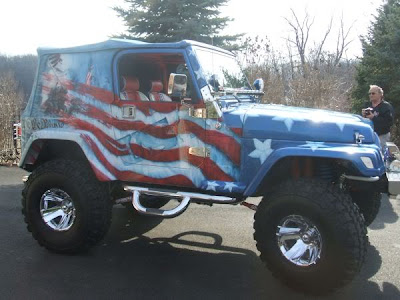 Airbrush USA Flag on Full Body Jeep Car 2