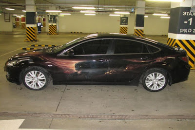 Puma Designs Airbrush on Mazda RX6 Car 1