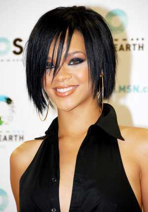 rihanna hairstyles bob. Singer Rihanna is at a