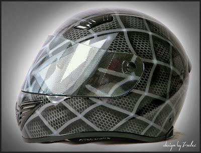 Black Spiderman Design Airbrush Helmet 1