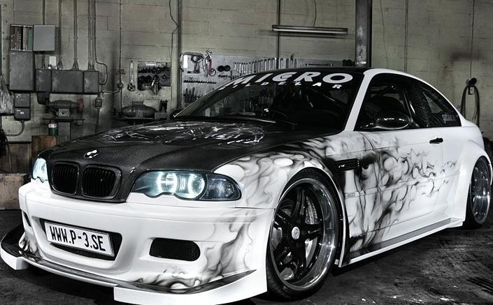 Bmw sport car modifications with custom airbrush art