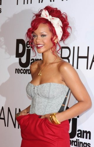 rihanna red hair 2011 what. pictures of red hairstyles. Updo Red Hairstyle by Rihanna