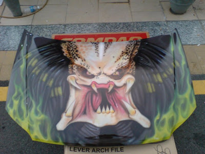Real Predator Face Airbrush Design on Car Hood