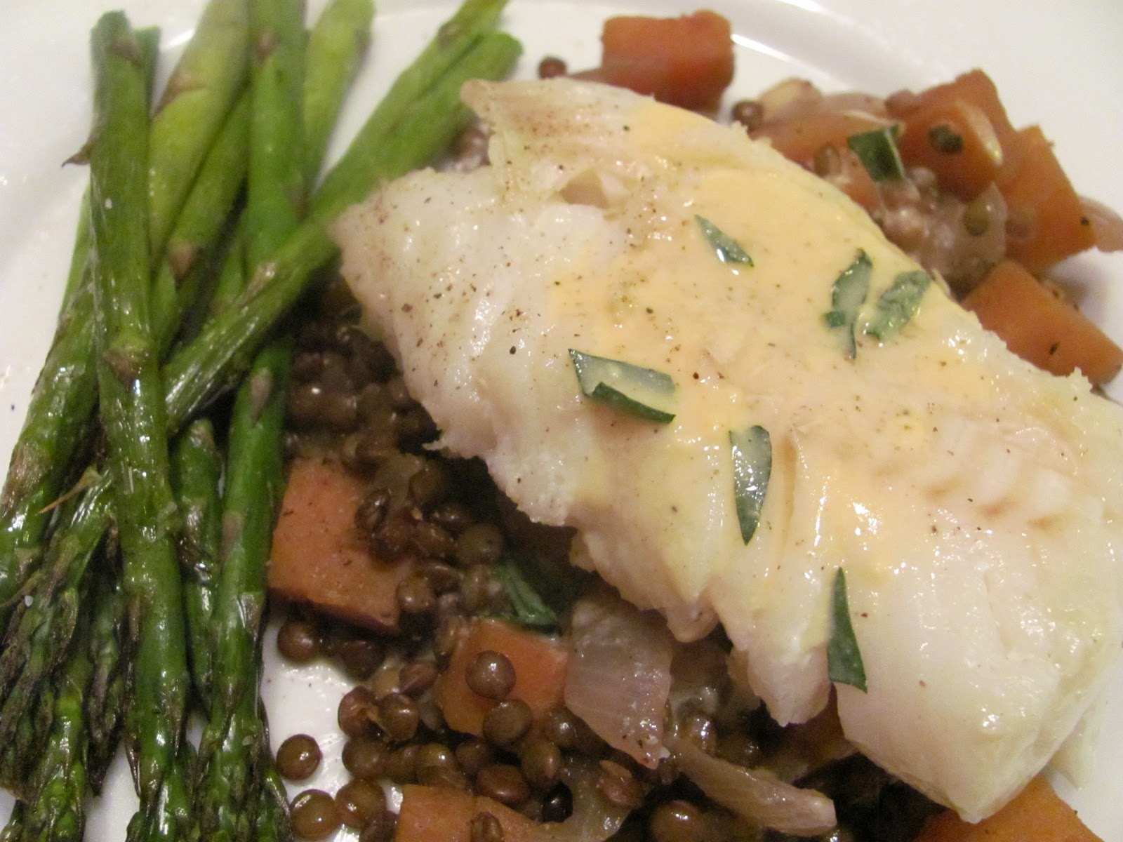 Halibut with lentils and mustard sauce for Jack fish recipe