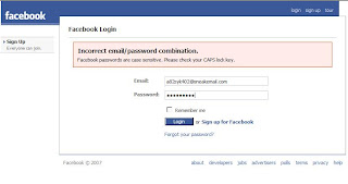 Facebook wrong password