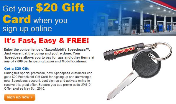 Free $20 Exxon/Mobil Gift/Gas Card